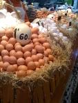Hen and ostrich eggs